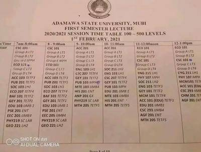 ADSU 1st semester lecture timetable for 2020/2021 session