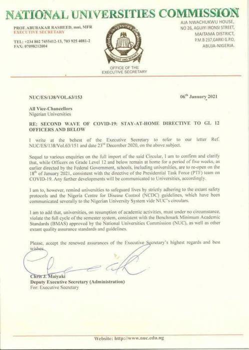 NUC okays reopening of universities on 18th January