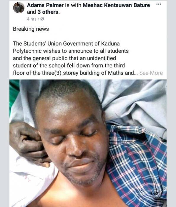 Kaduna Poly Student in Critical Condition After Falling From Third Floor of 3-Storey Building