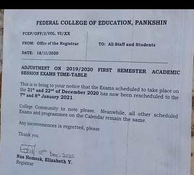 FCE, pankshin notice to students on adjustment of 2019/2020 first semester exam timetable