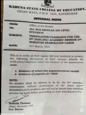 Kwara State COE notice on verification/clearance for 2nd semester exam cards, 2020/2021