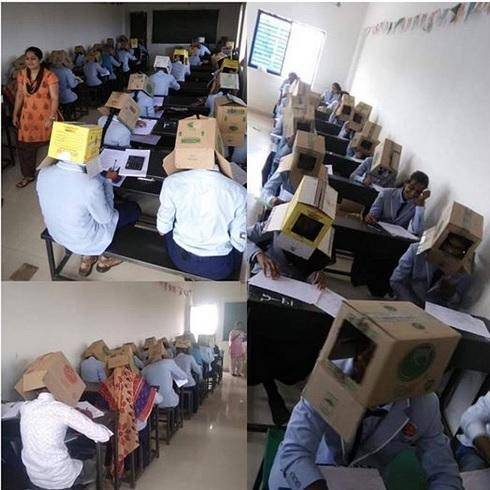 Students Forced to Wear Corrugated Box to Prevent Exam Malpractice
