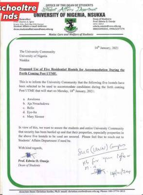 UNN notice on hostels to be used for post utme accommodation
