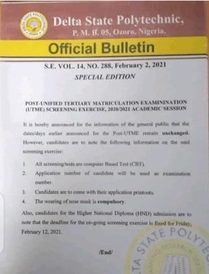 Delta Poly, Ozoro notice to 2020 Post-UTME candidates regarding the screening exercise