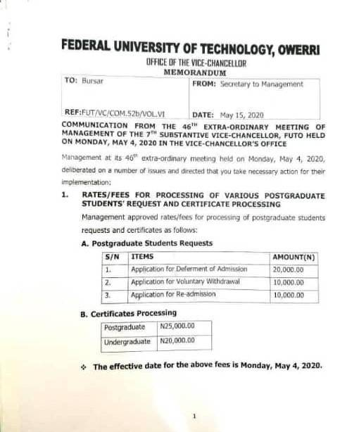 FUTO Undergraduate Students to Pay N20,000 for Collection of Certificates