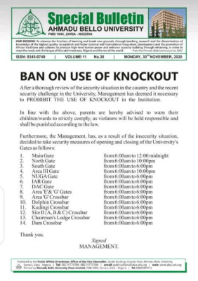 ABU bans use of knockout within the institution
