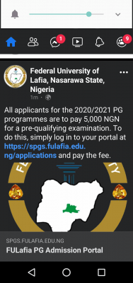 FULAFIA notice to postgraduate applicants on payment of pre-qualifying exams, 2020/2021