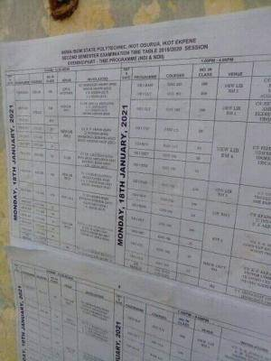 Akwa ibom state polyevening/part-time end semester exam timetable, 2019/2020 session