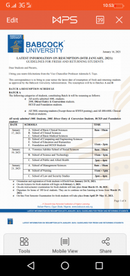 Babcock resumption schedule for students