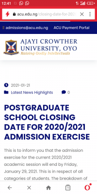 Ajayi Crowther University timeline for postgraduate admission exercise, 2020/2021