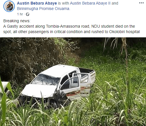 Niger Delta University Student Dies in Fatal Road Accident in Bayelsa