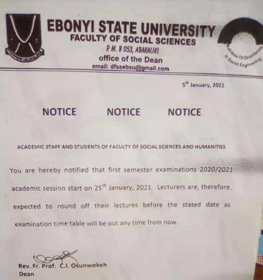 EBSU faculty of social sciences and humanities notice to staff and students