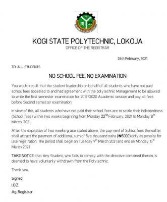 Kogi State Poly issues