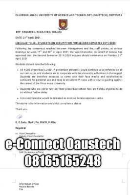 OAUSTECH notice on 2nd semester resumption for 2019/2020