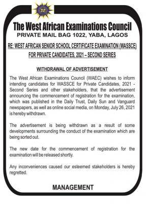 WAEC withdraws advertisement for commencement of 2021 GCE registration (2nd series)