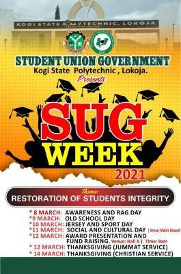 Kogi State Polytechnic SUG week programme of events for 2021