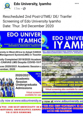 Edo University Iyahmo date for re-scheduled 2nd Batch 2020 Post UTME screening