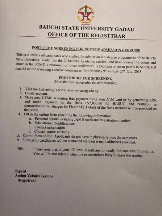 BASU Post-UTME 2018: Cut-off Mark, Eligibility And Registration Details
