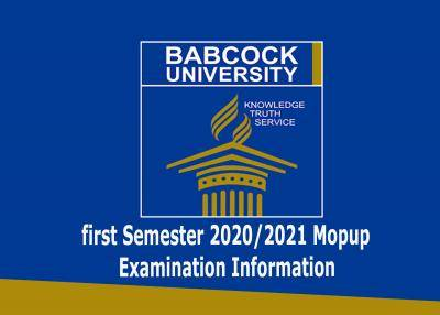 Babcock University notice to students on first semester mop-up exams, 2020/2021 session