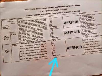 ESUST 2nd semester exam time-table, 2019/2020
