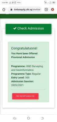 Kaduna Polytechnic HND Admission List for 2020/2201 session