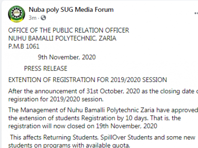 NUBAPOLY extends deadline for 2019/2020 course registration