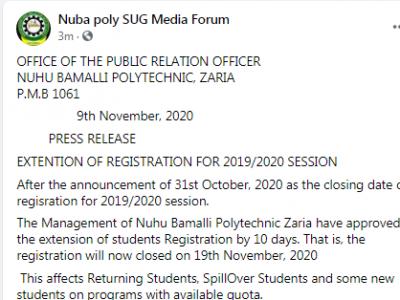 NUBAPOLY extends deadline for 2019/2020 course registration