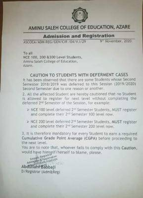 Aminu saleh COE notice to students with deferment cases