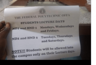 Federal Poly Offa announces lecture days for students