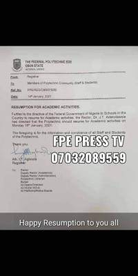 Fed Poly Ede notice to staff and students on resumption