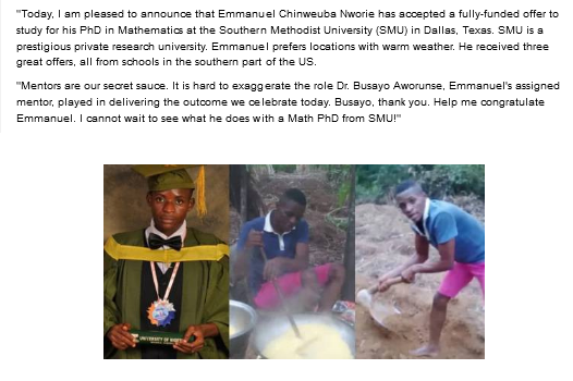 UNN first-class maths graduate who resorted to farming awarded a Ph.D scholarship in the US