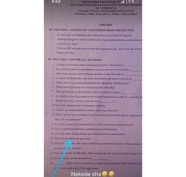 ''Who are the unknown gunmen'' - Nekedepoly exam question leaves students in shock