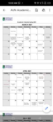 AUN academic calendar for 2020/2021 spring Semester