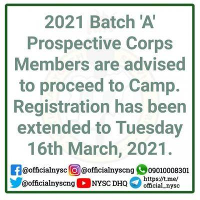 NYSC extends camp registration deadline for 2021 Batch 'A' Prospective Corps Members