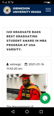 IUO graduate bags best graduating student award in MBA programme at USA varsity