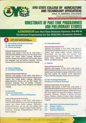 OYSCATECH Part time ND, pre-ND and certificate programmes 2020/2021 Admission