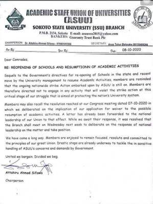 ASUU Sokoto State University chapter directs members not to engage in academic activities