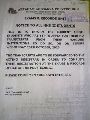 Abraham Adesanya Polytechnic notice to HND II students
