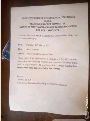 Kogi State College of Education (Technical), Kabba, notice to NCE II students