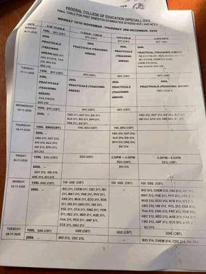 FCE Special Oyo 1st semester exam time-table for 2019/2020 session