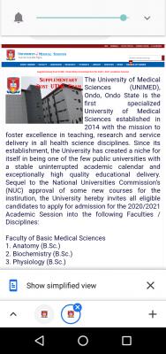 UNIMED Supplementary post-UTME/DE 2020: Cut-off Mark, Eligibility, Application Details