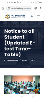 TASUED Updated E-test Time-Table, 2019/2020