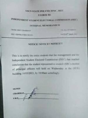 OSPOLY notice on SRC principal officers Election date