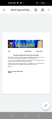 UI disclaimer notice on 2020 Post-UTME screening date