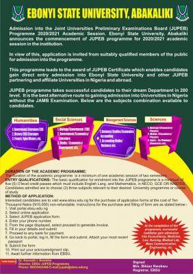 EBSU JUPEB admission form for 2020/2021 session