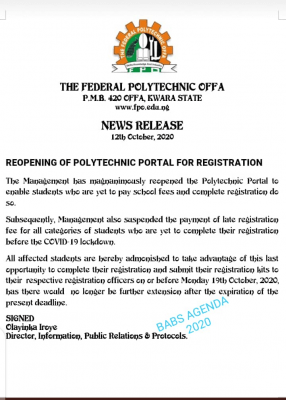 Offa Poly notice on reopening of course registration portal for 2019/2020 session