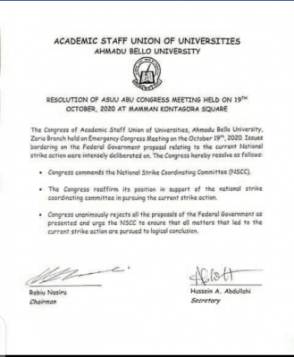 Resolution of ASUU ABU Congress Meeting