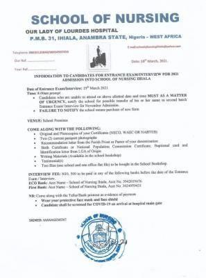 School of Nursing, Ihiala entrance exam/interview for 20221 admission