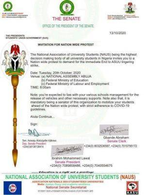 NAUS to hold a nationwide protest on October 20th to demand an end to ASUU strike