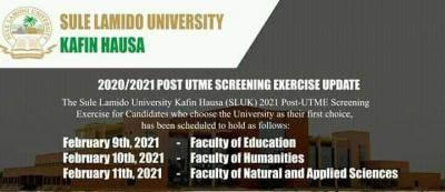 SLU Post-UTME screening schedule for 2020/2021 session